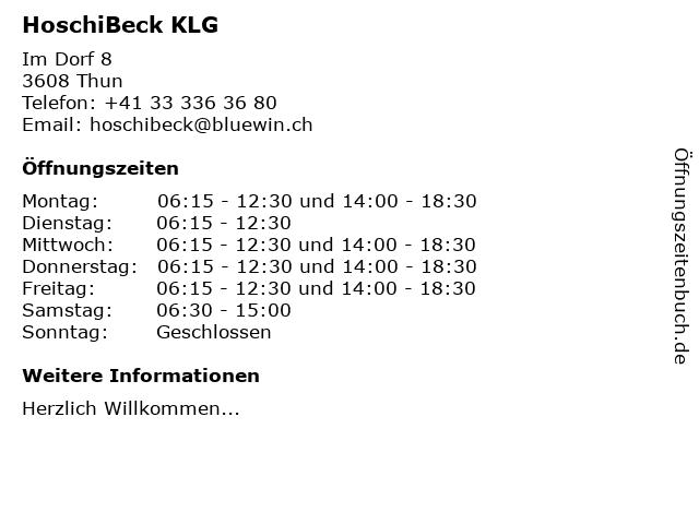 HoschiBeck KLG in Thun: Adresse und Öffnungszeiten