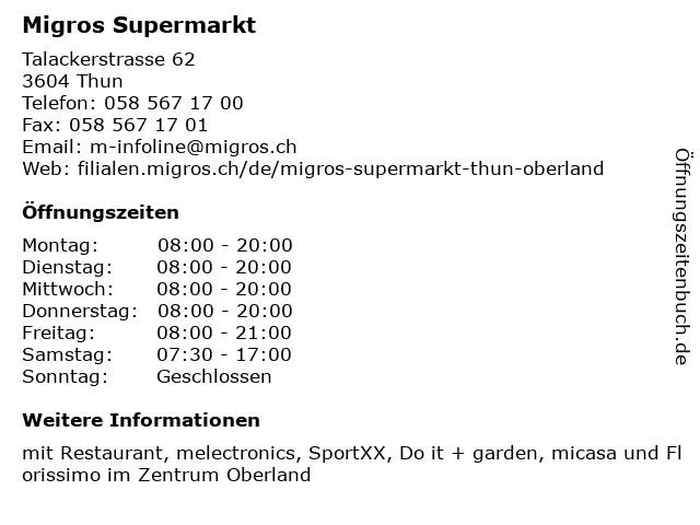 MIGROS Supermarkt in Thun: Adresse und Öffnungszeiten