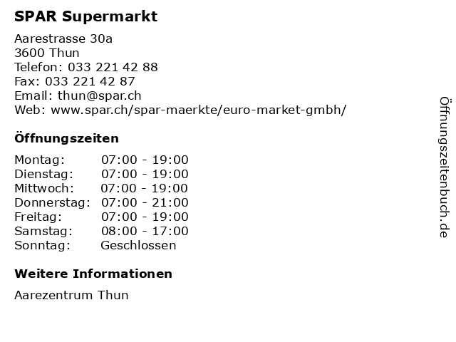 SPAR Supermarkt in Thun: Adresse und Öffnungszeiten