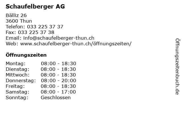 Schaufelberger AG in Thun: Adresse und Öffnungszeiten
