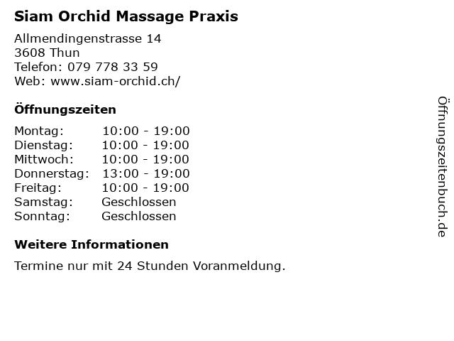 Siam Orchid Praxis in Thun: Adresse und Öffnungszeiten