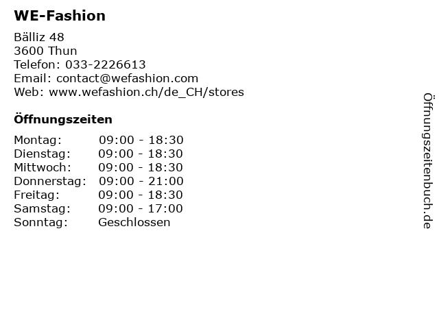 WE-Fashion in Thun: Adresse und Öffnungszeiten