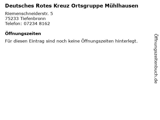 Deutsches Rotes Kreuz Ortsgruppe Mühlhausen in Tiefenbronn: Adresse und Öffnungszeiten