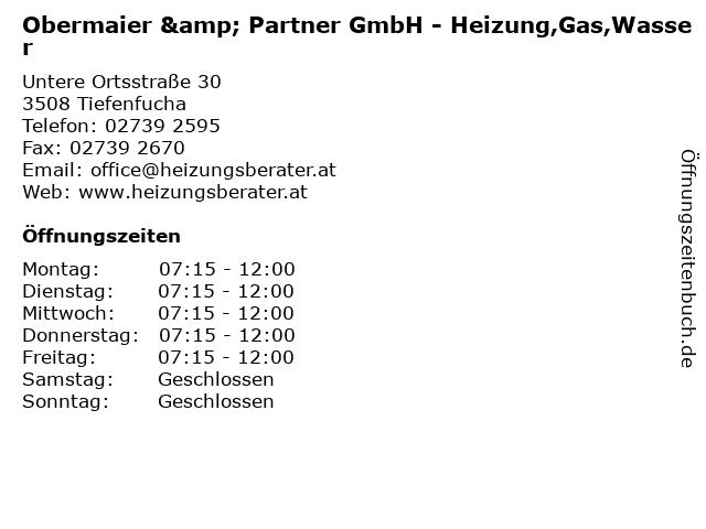 Obermaier & Partner GmbH - Heizung,Gas,Wasser in Tiefenfucha: Adresse und Öffnungszeiten