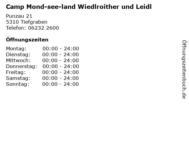 Camp Mond-see-land Wiedlroither und Leidl in Tiefgraben: Adresse und Öffnungszeiten