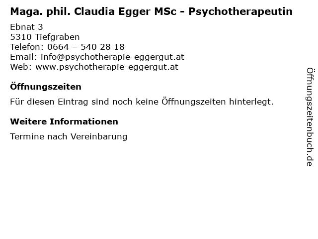 Maga. phil. Claudia Egger MSc - Psychotherapeutin in Tiefgraben: Adresse und Öffnungszeiten
