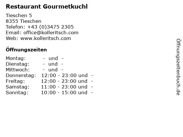 Restaurant Gourmetkuchl in Tieschen: Adresse und Öffnungszeiten