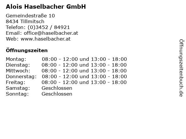 Alois Haselbacher GmbH in Tillmitsch: Adresse und Öffnungszeiten