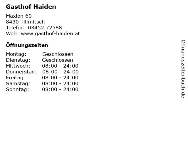 Gasthof Haiden in Tillmitsch: Adresse und Öffnungszeiten