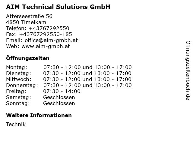 AIM Technical Solutions GmbH in Timelkam: Adresse und Öffnungszeiten
