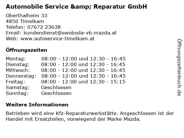 Automobile Service & Reparatur GmbH in Timelkam: Adresse und Öffnungszeiten