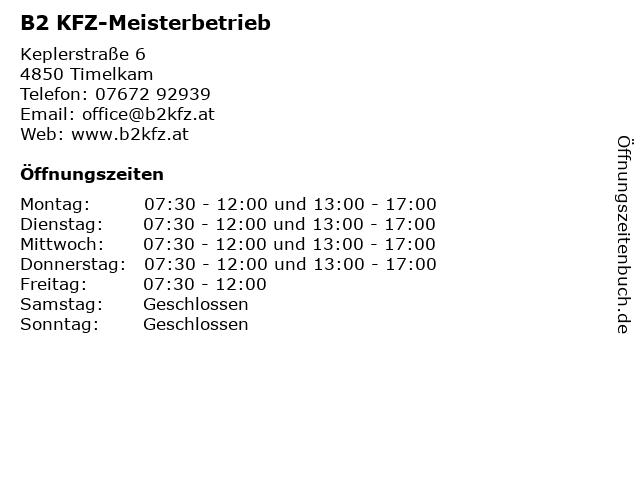 B2 KFZ-Meisterbetrieb in Timelkam: Adresse und Öffnungszeiten