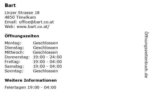 Bart in Timelkam: Adresse und Öffnungszeiten