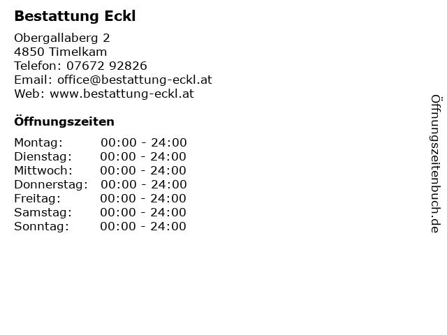 Bestattung Eckl in Timelkam: Adresse und Öffnungszeiten