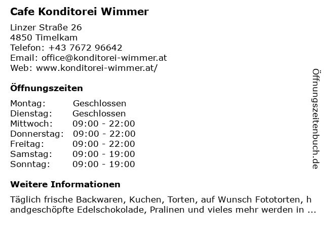 Cafe Konditorei Wimmer in Timelkam: Adresse und Öffnungszeiten