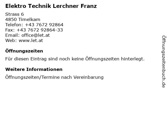 Elektro Technik Lerchner Franz in Timelkam: Adresse und Öffnungszeiten