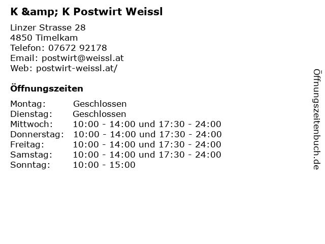 K & K Postwirt Weissl in Timelkam: Adresse und Öffnungszeiten