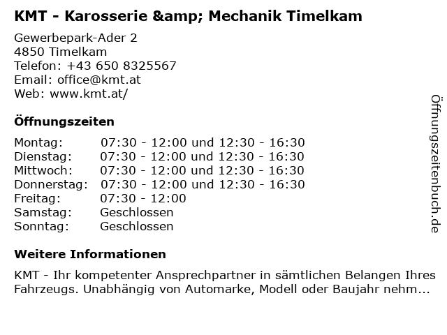 KMT Karosserie & Mechanik Timelkam in Timelkam: Adresse und Öffnungszeiten