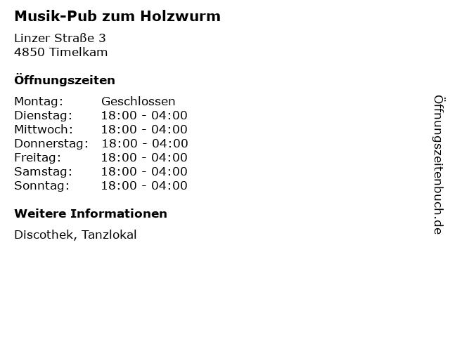Musik-Pub zum Holzwurm in Timelkam: Adresse und Öffnungszeiten
