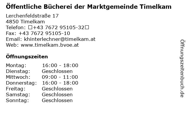 Öffentliche Bücherei der Marktgemeinde Timelkam in Timelkam: Adresse und Öffnungszeiten