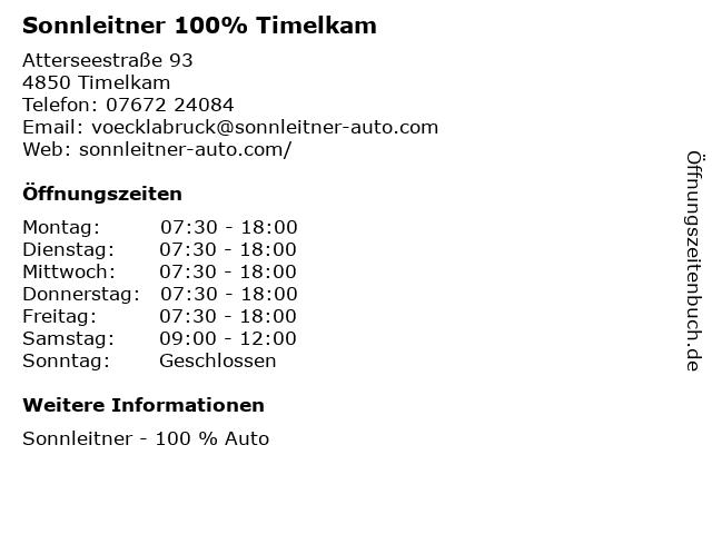 Autohaus Sonnleitner GmbH & Co KG - Renault-Nissan-Dacia in Timelkam: Adresse und Öffnungszeiten