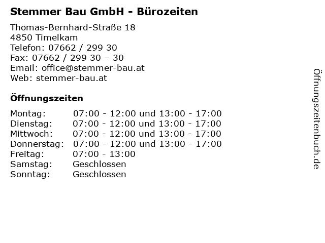 Stemmer Bau GmbH - Bürozeiten in Timelkam: Adresse und Öffnungszeiten
