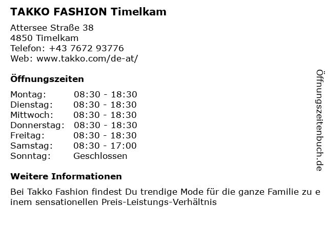 Takko Fashion in Timelkam: Adresse und Öffnungszeiten