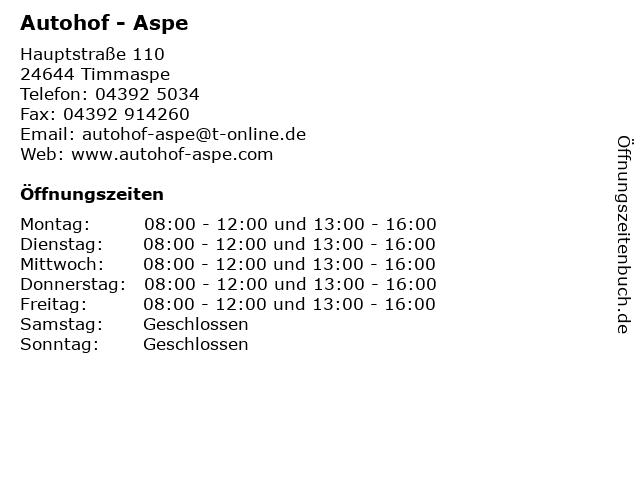 Autohof - Aspe in Timmaspe: Adresse und Öffnungszeiten