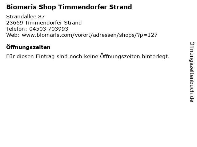 Biomaris Shop Timmendorfer Strand in Timmendorfer Strand: Adresse und Öffnungszeiten