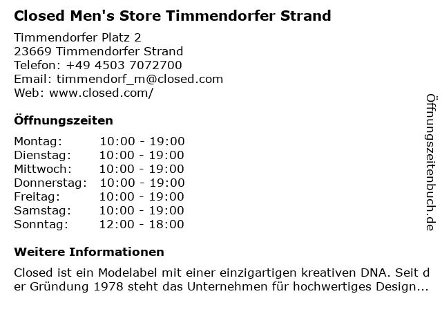 Closed Shop Men in Timmendorfer Strand: Adresse und Öffnungszeiten