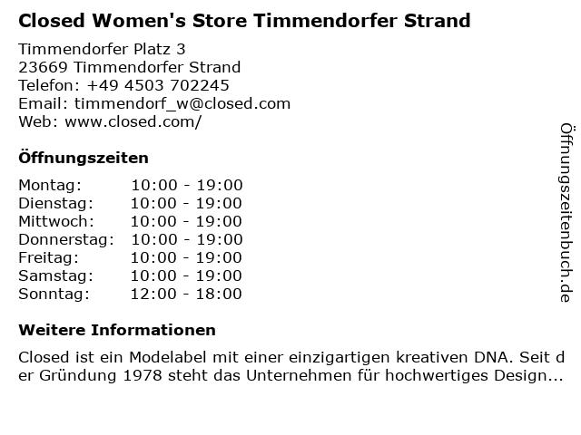 Closed Shop Women in Timmendorfer Strand: Adresse und Öffnungszeiten