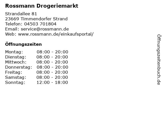 Rossmann Drogeriemarkt in Timmendorfer Strand: Adresse und Öffnungszeiten