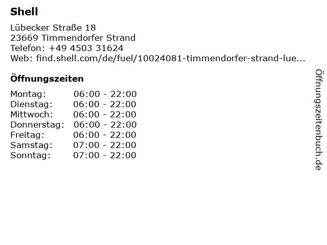 Shell Station - Tankwart-Service in Timmendorfer Strand: Adresse und Öffnungszeiten