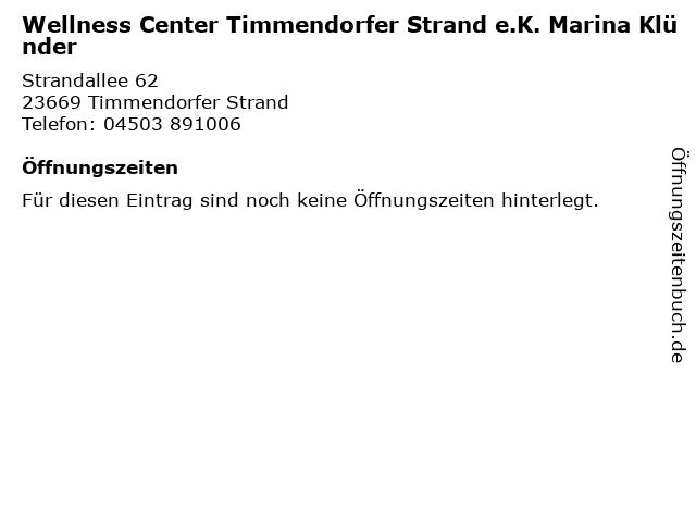 Wellness Center Timmendorfer Strand e.K. Marina Klünder in Timmendorfer Strand: Adresse und Öffnungszeiten