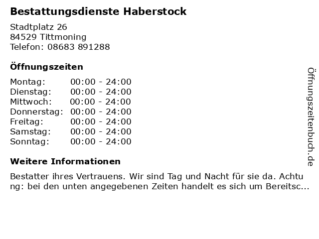 Bestattungsdienste Haberstock in Tittmoning: Adresse und Öffnungszeiten