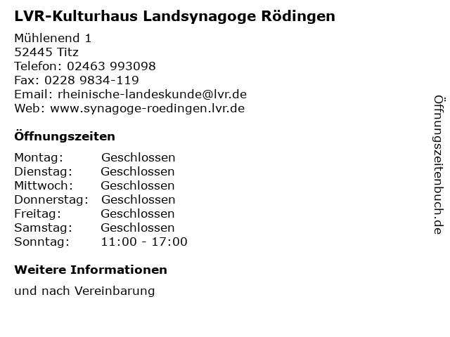 LVR-Kulturhaus Landsynagoge Rödingen in Titz: Adresse und Öffnungszeiten