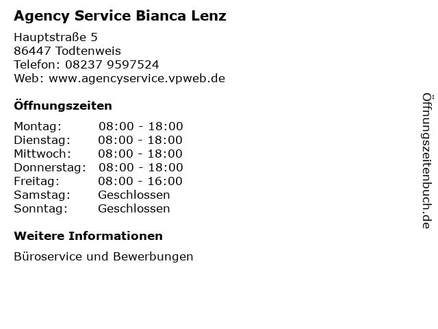 Agency Service Bianca Lenz in Todtenweis: Adresse und Öffnungszeiten