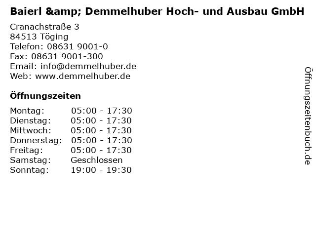 ᐅ öffnungszeiten Baierl Demmelhuber Hoch Und Ausbau Gmbh