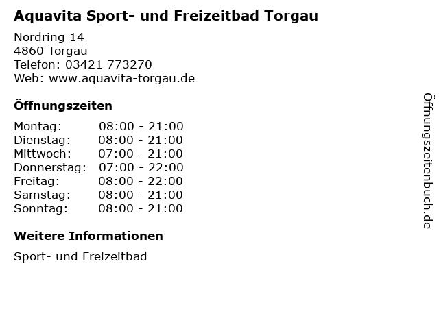 Aquavita Sport- und Freizeitbad Torgau in Torgau: Adresse und Öffnungszeiten