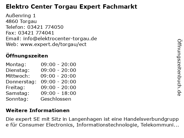 Elektro Center Torgau Expert Fachmarkt in Torgau: Adresse und Öffnungszeiten