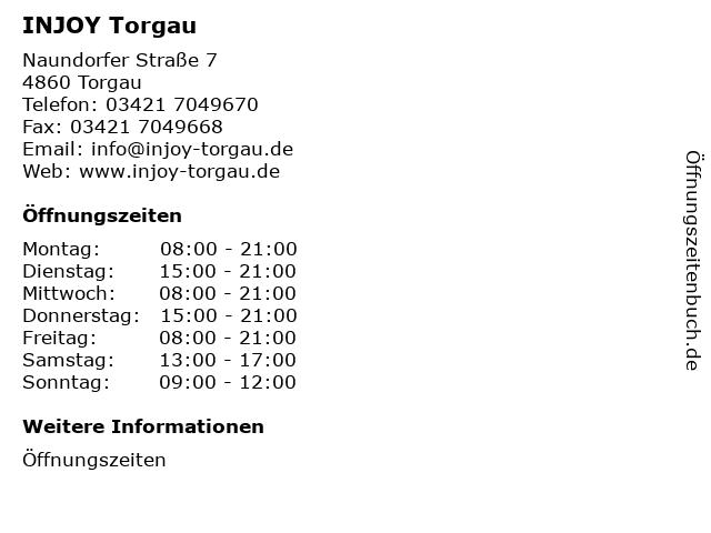INJOY Torgau in Torgau: Adresse und Öffnungszeiten