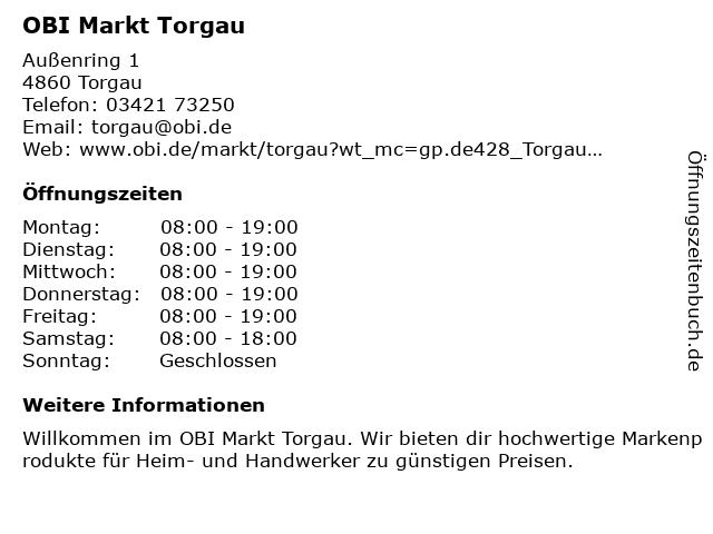 OBI GmbH & Co. Deutschland KG in Torgau: Adresse und Öffnungszeiten