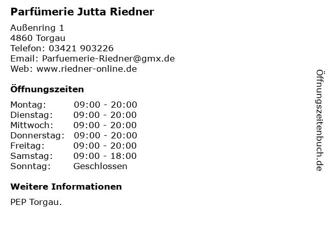Parfümerie Jutta Riedner in Torgau: Adresse und Öffnungszeiten