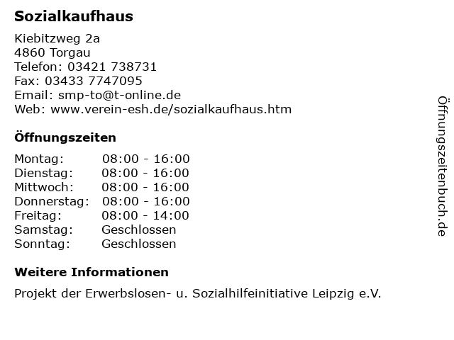 ᐅ öffnungszeiten Sozialkaufhaus Kiebitzweg 2a In Torgau