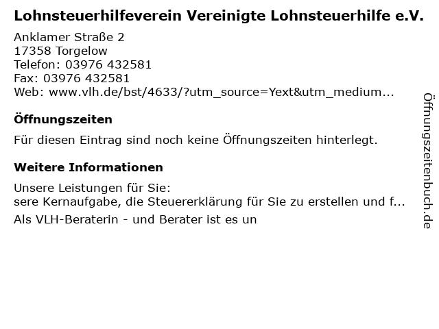 Vereinigte Lohnsteuerhilfe e.V. - Karsten Schulze in Torgelow: Adresse und Öffnungszeiten