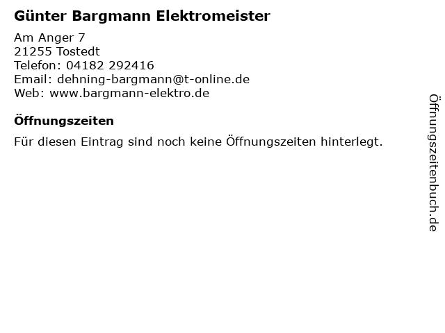 Günter Bargmann Elektromeister in Tostedt: Adresse und Öffnungszeiten