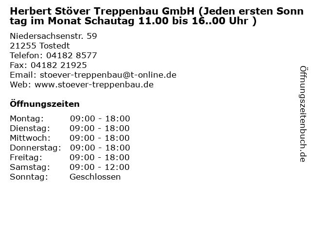Herbert Stöver Treppenbau GmbH (Jeden ersten Sonntag im Monat Schautag 11.00 bis 16..00 Uhr ) in Tostedt: Adresse und Öffnungszeiten