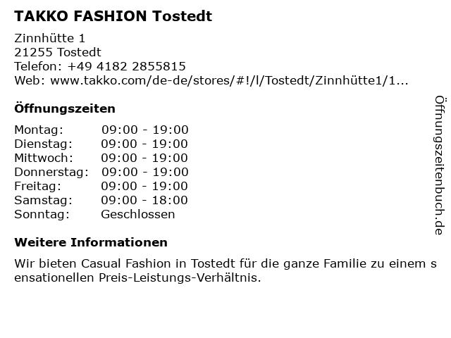 Takko Fashion in Tostedt: Adresse und Öffnungszeiten