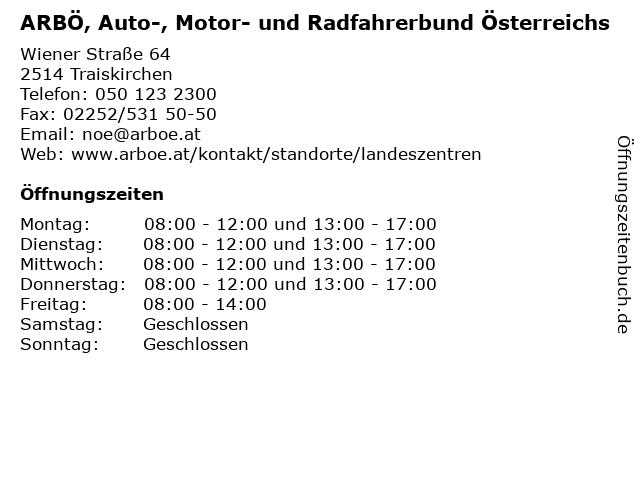 ARBÖ in Traiskirchen: Adresse und Öffnungszeiten