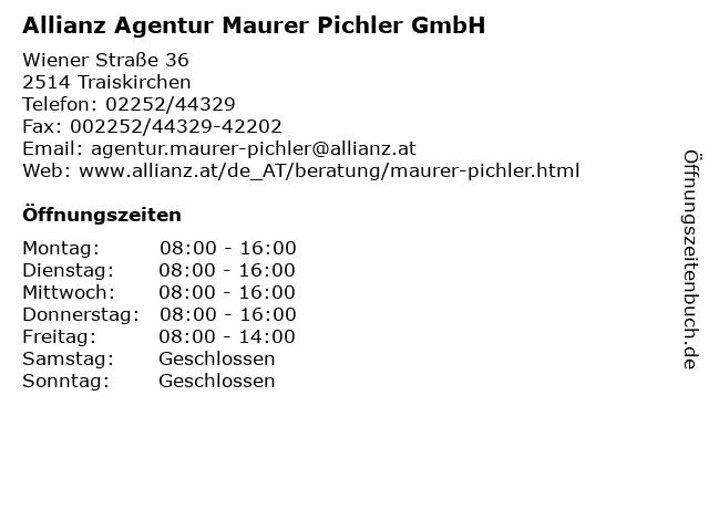 Allianz Agentur Maurer Pichler GmbH in Traiskirchen: Adresse und Öffnungszeiten